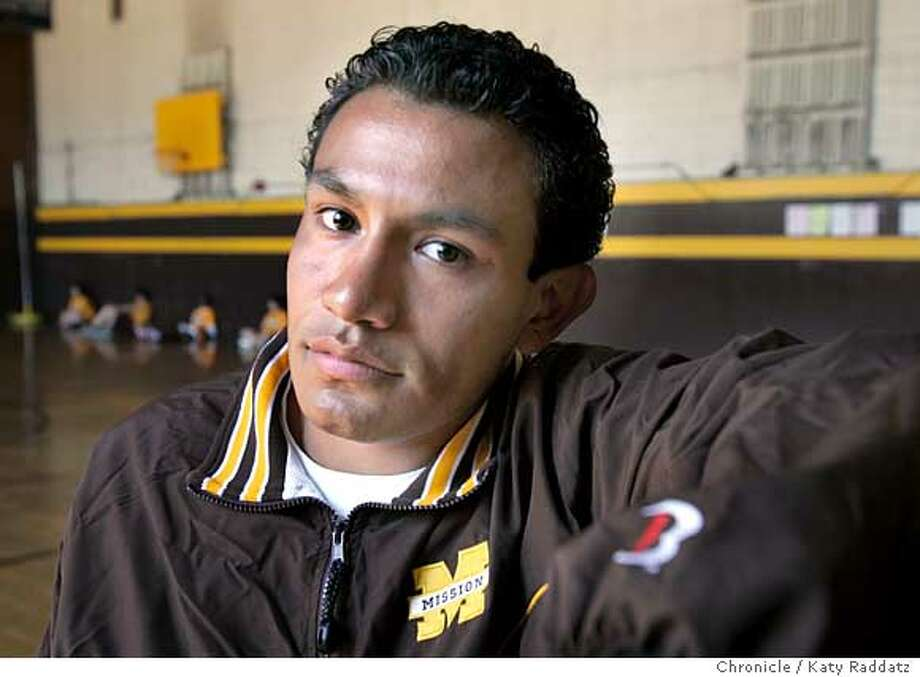 Kenny Zepeda was accepted at UC Berkeley on a full scholarship. He attends Mission High School in San Francisco, and is shown in the school gym. Photo taken on 4/19/05, in San Francisco, CA.  By Katy Raddatz / The San Francisco Chronicle Photo: Katy Raddatz