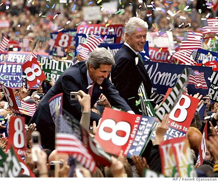 Former president Bill Clinton, right, making his first appearance since his heart surgery joins Democratic presidential candidate Sen. John F. Kerry, D-Mass, at a campaign rally in Philadelphia Monday, Oct. 25, 2004. (AP Photo/Kevork Djansezian) Nation#MainNews#Chronicle#10/26/2004#ALL#5star#A1#0422431441 Photo: KEVORK DJANSEZIAN