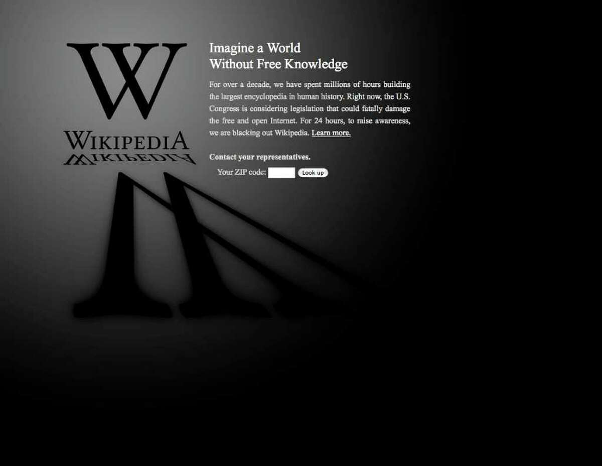 This screen shot shows the blacked-out Wikipedia website, during its protest against proposed legislation in Congress.