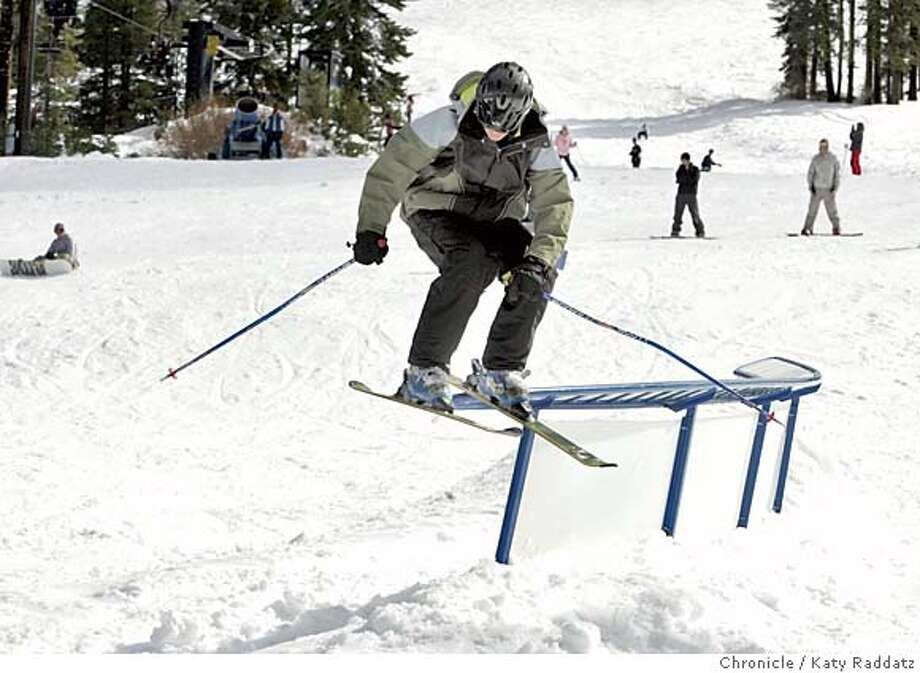 SKI_rad.jpg SHOWN: A skier gracefully negotiates the C-rail jump, used mostly by snowboarders. We go to Boreal Ridge Ski Area for a story about how the ski season is beginning early. Katy Raddatz / The Chronicle MANDATORY CREDIT FOR PHOTOG AND SF CHRONICLE/ -MAGS OUT Metro#Metro#Chronicle#10/25/2004#ALL#5star##0422430473 Photo: Katy Raddatz