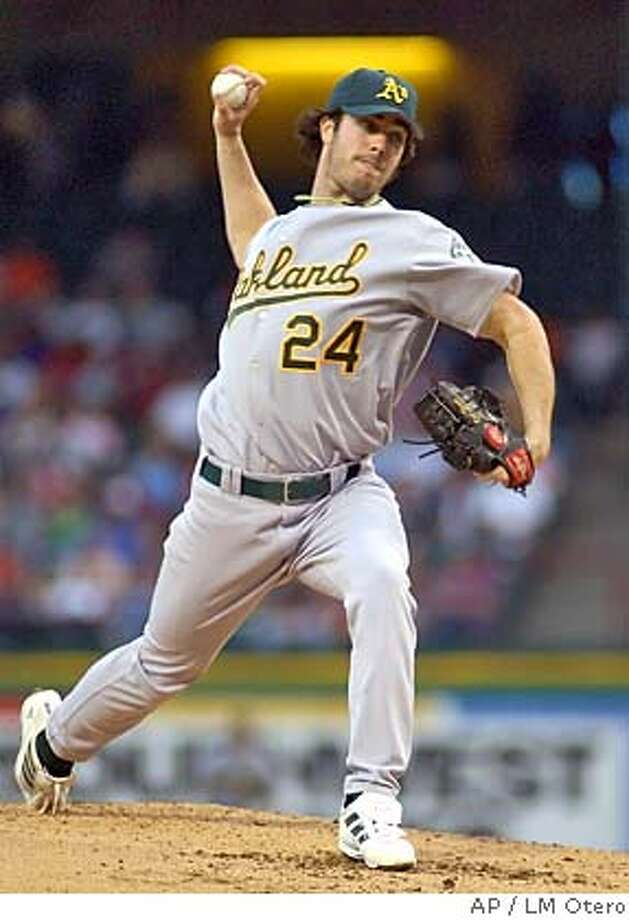 Oakland Athletics starting pitcher Dan Haren (24) throws in the second inning against the Texas Rangers in Arlington, Texas, Monday, April 18, 2005. (AP Photo/LM Otero) Photo: LM OTERO