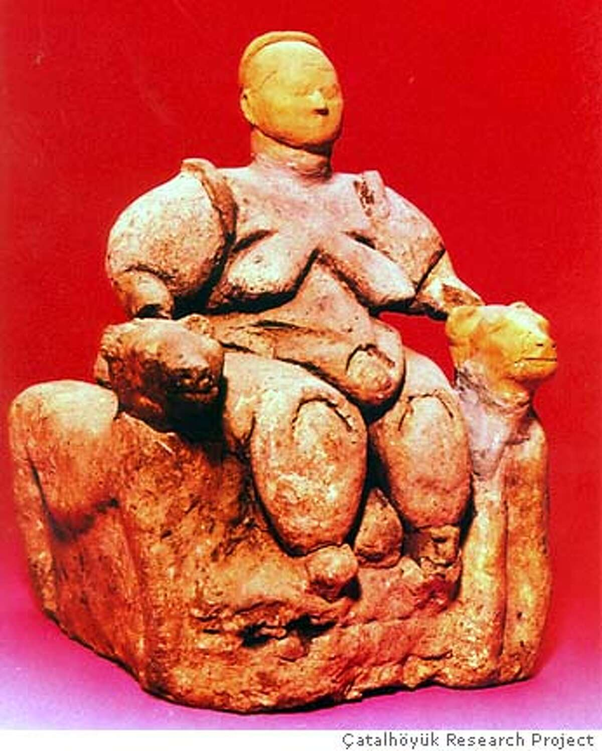 Photo of the Mother Goddess. NOTE: CREDIT PENDING Ran on: 04-18-2005 The seated woman, left, was unearthed more than 40 years ago and is 6� inches high. The badly eroded 3-inch female figurine made of limestone, right, was found last excavation season.