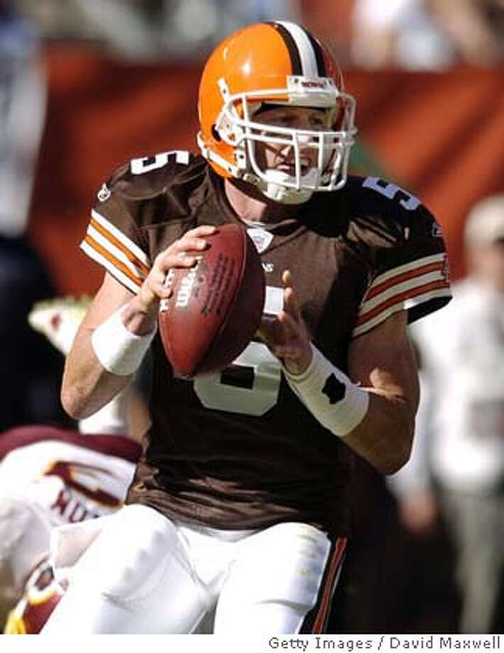 CLEVELAND - OCTOBER 3: Quarterback Jeff Garcia #5 of the Cleveland Browns looks to pass during the third quarter against the Washington Redskins on October 3, 2004 at Cleveland Browns Stadium in Cleveland, Ohio. Cleveland defeated Washington 17-13. (Photo by David Maxwell/Getty Images) *** Local Caption *** Jeff Garcia Ran on: 10-24-2004  Browns QB Jeff Garcia will face a stern challenge from the Eagles (5-0), who are tied for the league lead with 20 sacks. Ran on: 10-24-2004  Browns quarterback Jeff Garcia will face a stern challenge from the Eagles (5-0), who are tied for the league lead with 20 sacks. Sports#Sports#Chronicle#10/25/2004#ALL#5star##0422392259 Photo: David Maxwell