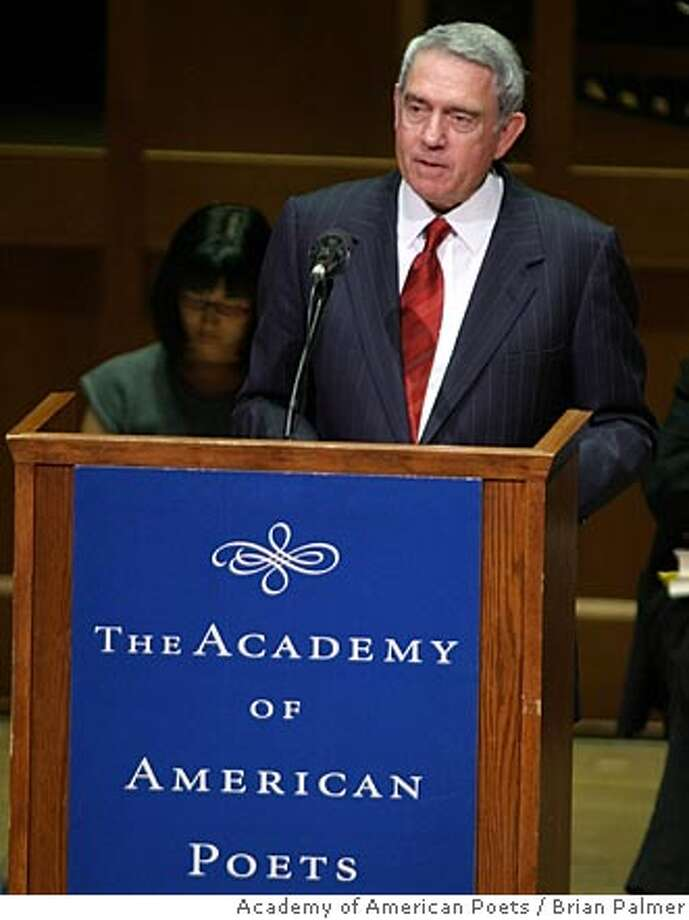 "In this photo from the Academy of American Poets,former television news anchor Dan Rather reads Wallace Stevens' ""The Death of a Soldier,"" at the Academy of American Poets' ""Poetry & the Creative Mind"" event at Alice Tully Hall in New York, Tuesday night, April 5, 2005. He was among the celebrities and cultural notables reciting poetry at a benefit to celebrate the 10th National Poetry Month. (AP Photo/Academy of American Poets, Brian Palmer) Photo: BRIAN PALMER"