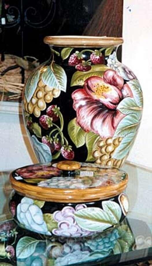 The Lipari pattern by Montelupo (urn, $425; covered dish, $225).