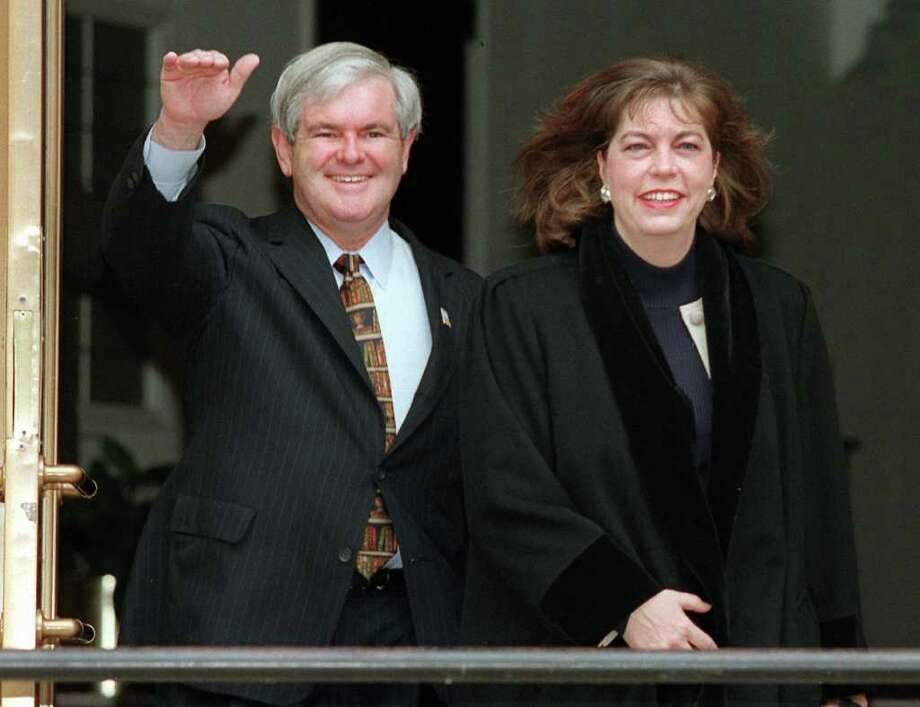 Newt Gingrich and his second wife, Marianne, are shown in 1997. Two years later, she says, he told her he wanted to see other women while married to her. Photo: MARK WILSON / AP1997