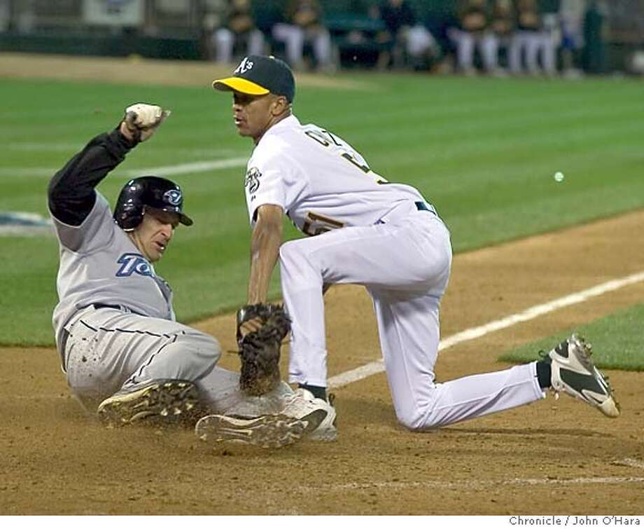 ATHLETICS_084_OHARA.TIF  McAffee Coliseum, Oakland , CA  Opening Day for the Athletics  Game Action  A's pitcher Juan Cruz came into the game in the 4th inning, relieving the starter Kirk Saarloos. A Cruz pitch got past the catcher Jason Kendall. #47 Corey Koskie on 3rd base tried to score. Cruz tagged him out at the plate.  Photo/John O'hara Photo: John O'hara