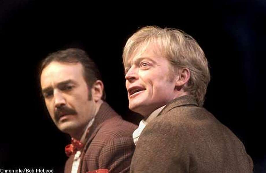Paul Vincent Black, as Barney Barnato and Allyn Burrows, as Cecil Rhodes in The Colussus of Rhodes. an ACT production at the Zeum theatre.  Chronicle photo by Bob Mcleod