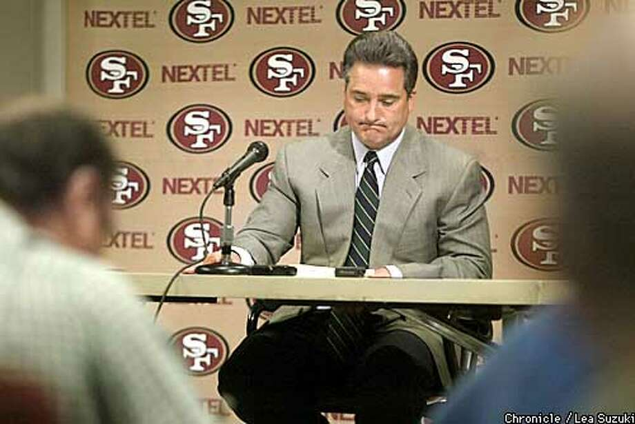 STEVE MARIUCCI GIVES A PRESS CONFERENCE AT 49ER HEADQUARTERS ON MONDAY. PHOTO BY LEA SUZUKI Photo: LEA SUZUKI
