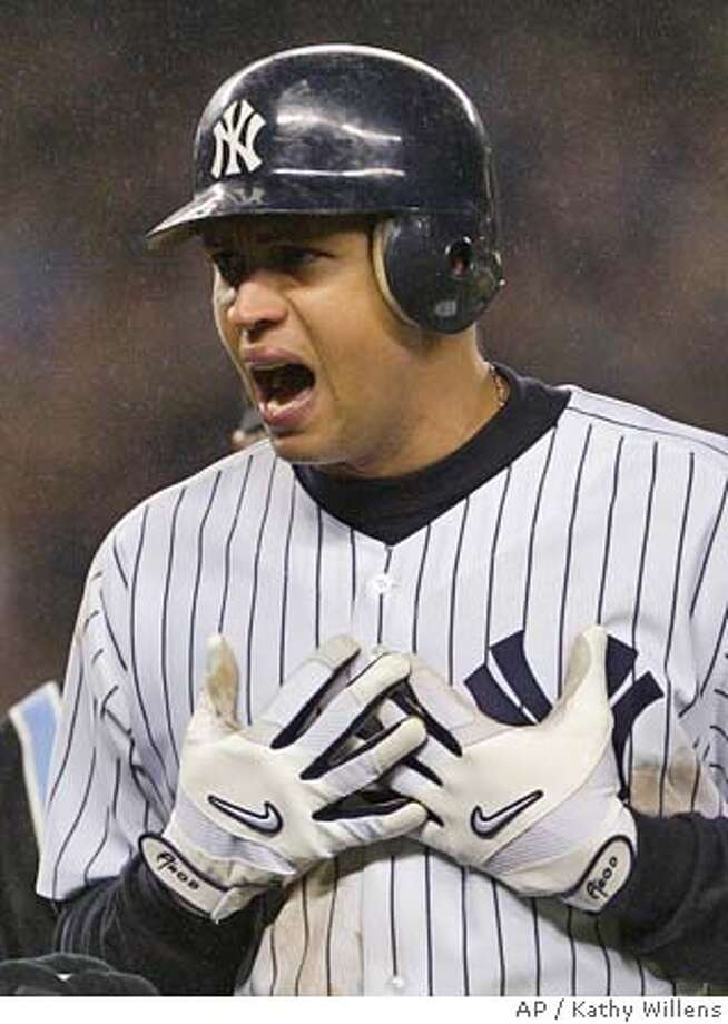 New York Yankees Alex Rodriguez reacts in the eighth inning against the Boston Red Sox after being called out for interference in Game 6 of the ALCS Tuesday, Oct. 19, 2004 in New York (AP Photo/Kathy Willens) Sports#Sports#Chronicle#10/24/2004#ALL#2star##0422422303 Photo: KATHY WILLENS