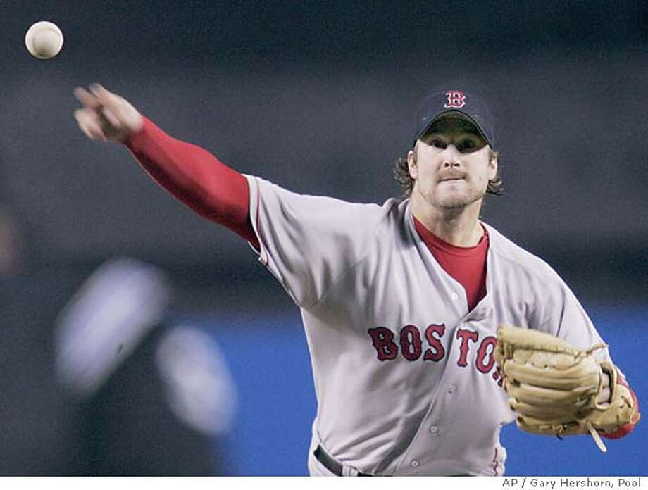Boston Red Sox starter Derek Lowe delivers to the New York Yankees in the first inning of game 7 of the ALCS in New York, Wednesday, Oct. 20, 2004, in New York. (AP Photo/Gary Hershorn, Pool) Sports#Sports#Chronicle#10/21/2004#ALL#5star##0422423993 Photo: GARY HERSHORN
