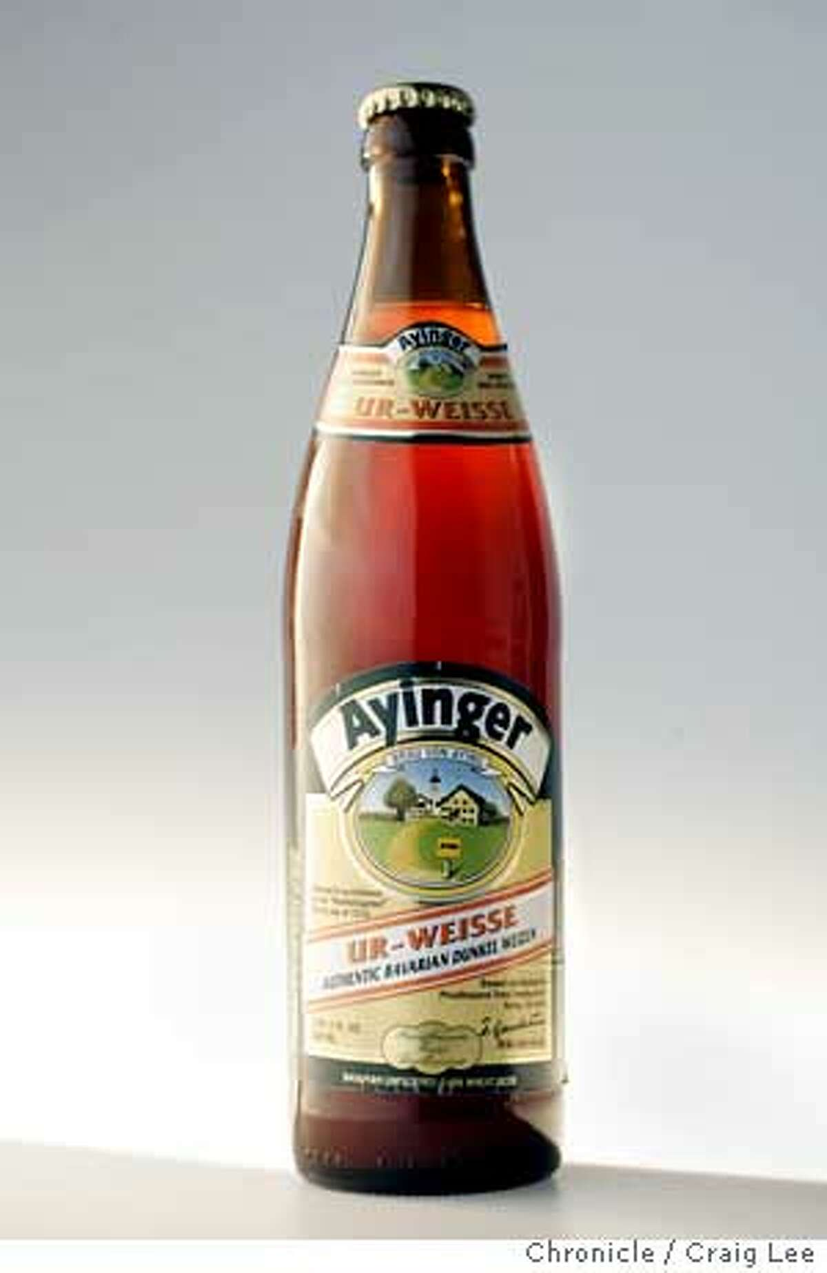 Beer of the month. Ayinger Ur-Weisse German dark wheat beer. Event on 4/7/05 in San Francisco. Craig Lee / The Chronicle