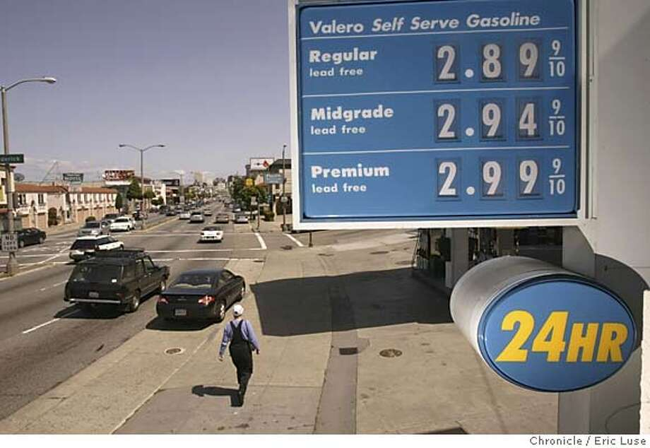 gas13_0057_el.JPG Valero station on Lombard at Broderick This is the latest monthly update on gasoline prices, which are setting new records daily in many California cities. According to AAA, San Franciscans now pay an average of $2.71 for a gallon of unleaded, a 35.5 percent increase from earlier this year. As part of the story, we'll need the dreaded photo of a gas station sign listing prices. Event on 4/12/05 in San Francisco. Eric Luse / The Chronicle MANDATORY CREDIT FOR PHOTOG AND SF CHRONICLE/ -MAGS OUT Photo: Eric Luse