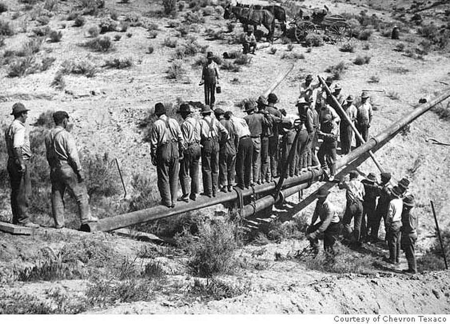 Photo of PCO's first crude oil pipeline. Photo: Courtesy Of Chevron Texaco Corpo