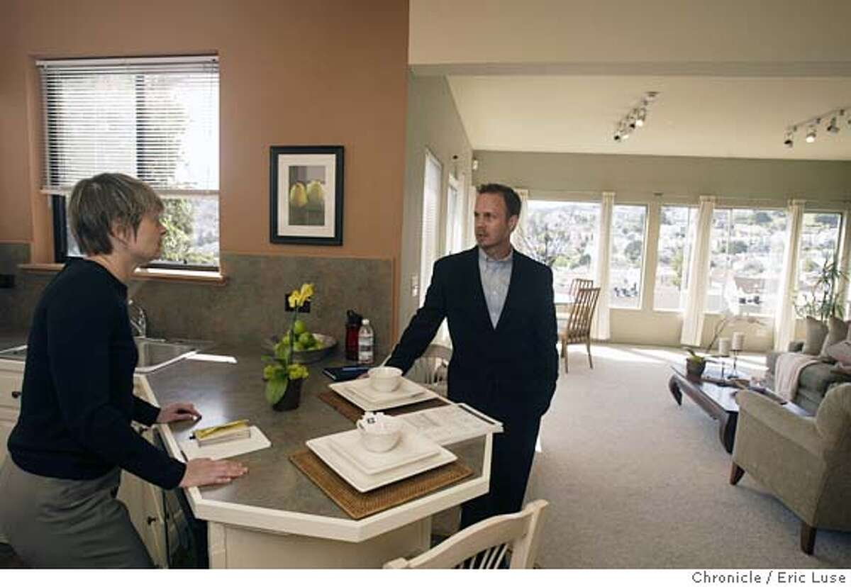 home16_0011_el.JPG Kevin McCleod, talks with realtor Eileen Bermingham during a open house he listed at 149 State Street, San Francisco DataQuick releases monthly home sales report on Friday (4/15). We head out into the belly of the beast -- homes for sale in central SF -- to try and chat and photograph some buyers on the prowl. Depending on what we find there, we may go to a few other open homes, such as: 2317 15th St. X-street: Castro (also open from 11-12:30) 3573 22nd St. X-street Church (open 11-12:30) Event on 4/12/05 in San Francisco. Eric Luse / The Chronicle MANDATORY CREDIT FOR PHOTOG AND SF CHRONICLE/ -MAGS OUT