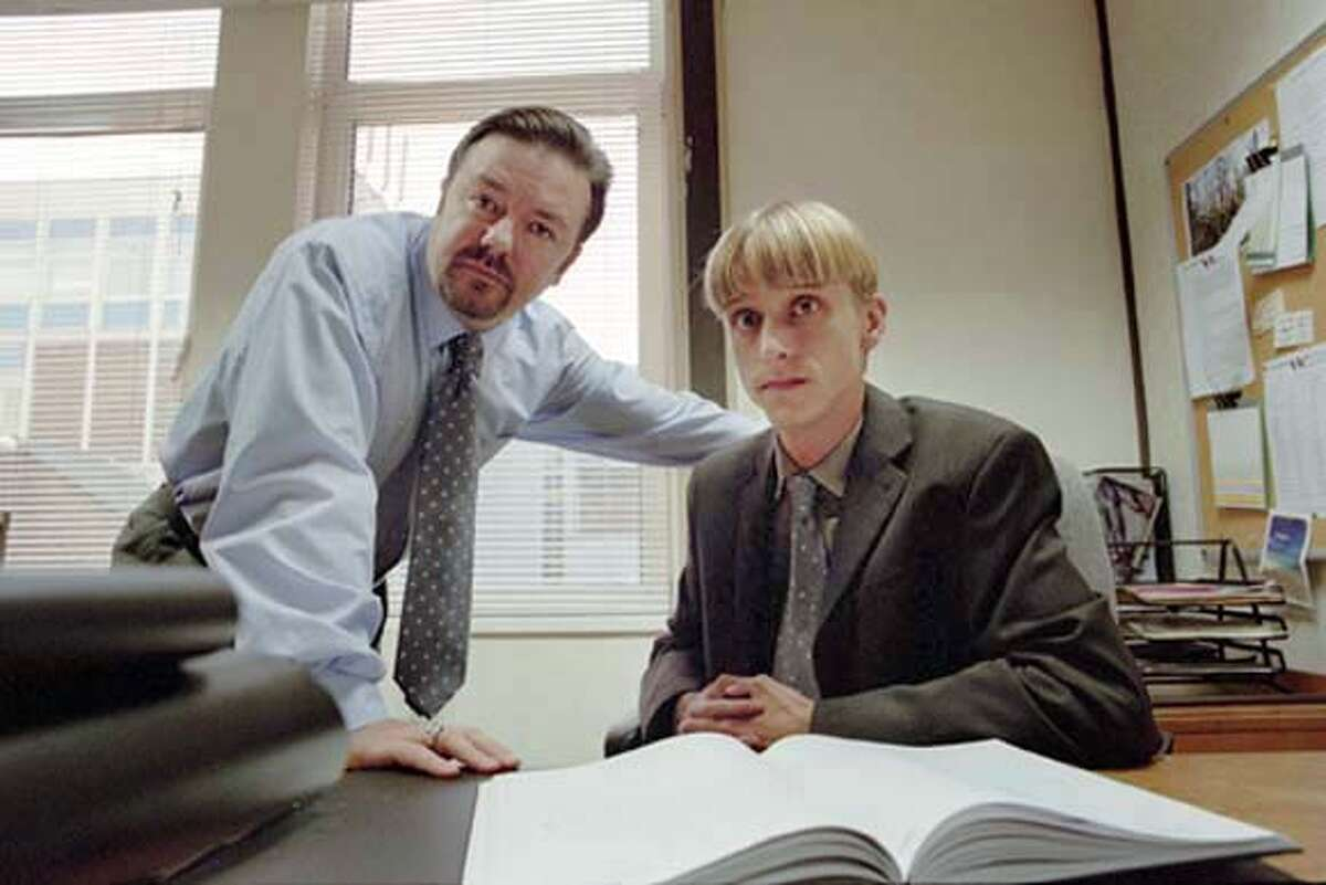 GOODMAN21 Picture Shows: David Brent (Ricky Gervais) and Gareth Keenan (MacKenzie Crook) in The Office. � BBC 2003 WARNING: Use of this copyright image is subject to Terms of Use of BBC Digital Picture Service. In particular, this image may only be used during the publicity period for the purpose of publicising 'The Office' and provided the BBC is credited. Any use o Datebook#Datebook#Chronicle#10/21/2004##Advance##0422420062