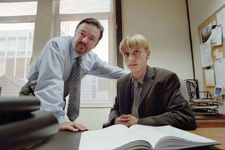 GOODMAN21 Picture Shows: David Brent (Ricky Gervais) and Gareth Keenan (MacKenzie Crook) in The Office. � BBC 2003 WARNING: Use of this copyright image is subject to Terms of Use of BBC Digital Picture Service. In particular, this image may only be used during the publicity period for the purpose of publicising 'The Office' and provided the BBC is credited. Any use o Datebook#Datebook#Chronicle#10/21/2004##Advance##0422420062 Photo: BBC/JACK BARNES
