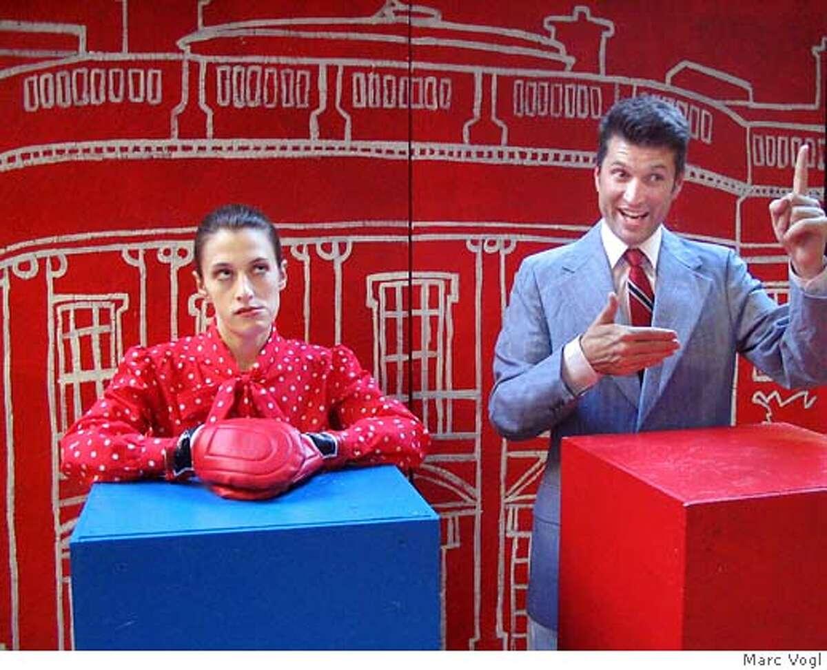 theater24-KillingMyLobster.JPG Sarah Mitchell and John Kovacevich debate in