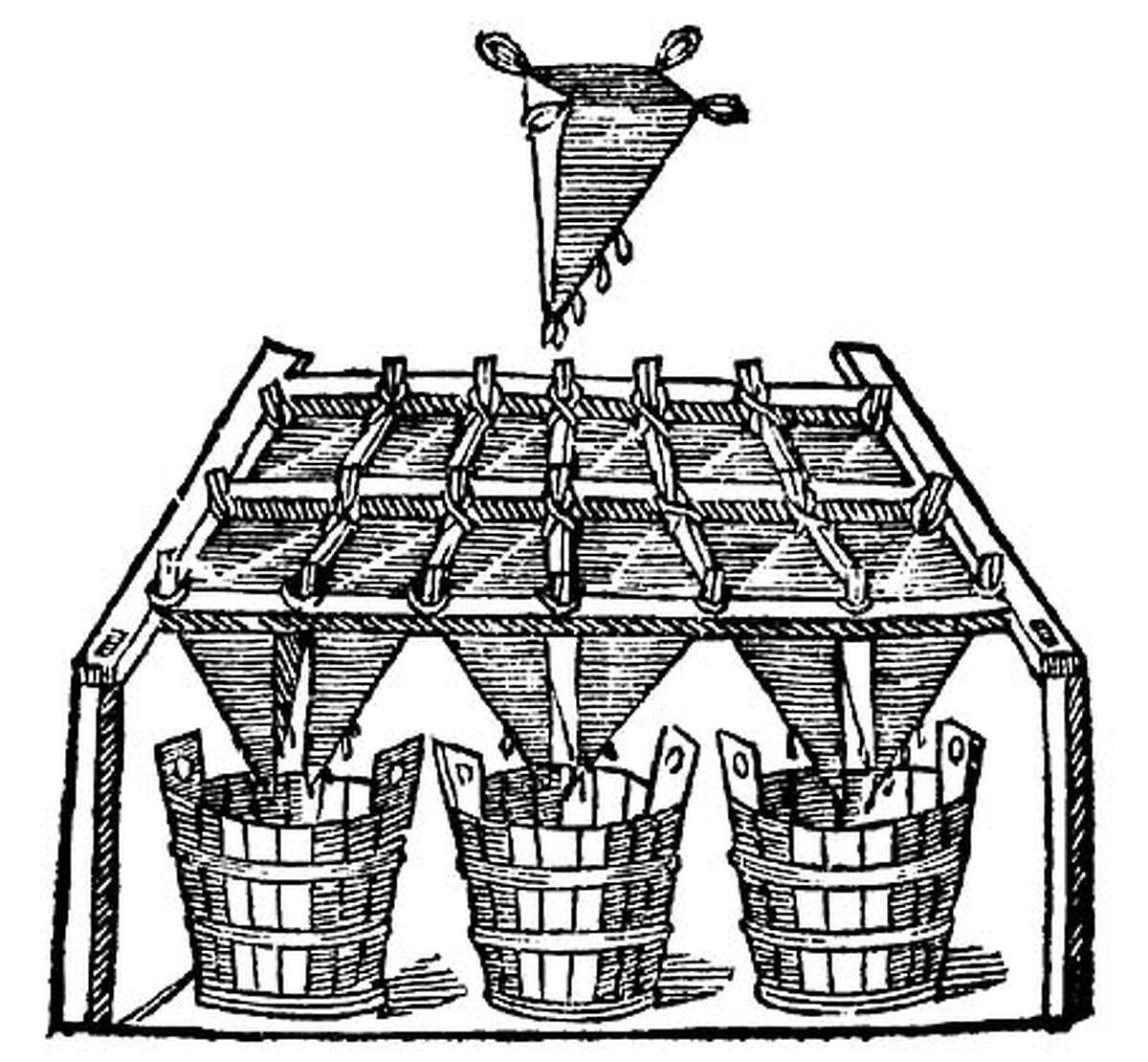 A wine filter shown in a 1572 book on Italian winemaking. Image courtesy of Sean Thackrey
