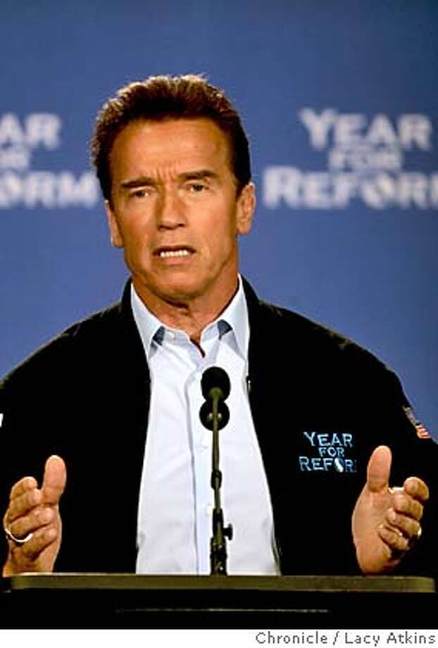 "Govenor Arnold Schwarzenegger addresses the media reguarding his push for his Year for Reform at theHyatt in Santa Rosa, April 7, 2005. Schwarzenegger will give a press conference at 3 p.m. in Santa Rosa at the Hyatt Vineyard Creek, 170 Railroad Avenue. As pool photo and reporter, we will then be driven in motorcade over to the site of the ""kitchen cabinet"" event, but we won't be given the address ahead of time. So it's imperative you make it to the press conference, April 7, 2005, in Santa Rosa.  Photographer Lacy Atkins Photo: LACY ATKINS"