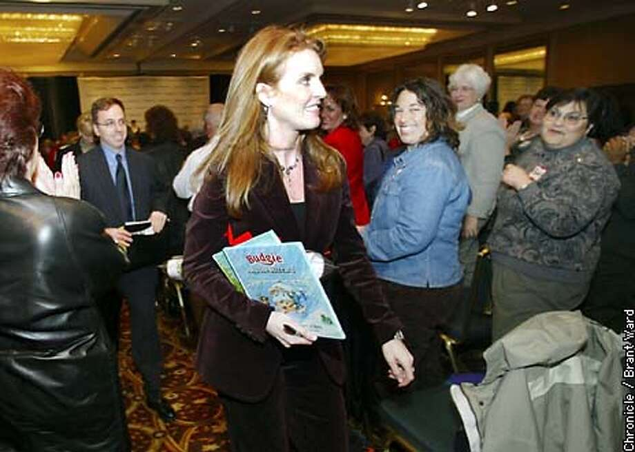 Sarah Ferguson left the ballroom at San Francisco's Grand Hyatt Hotel Wednesday after speaking to a local Weight Watchers group. She was warmly received by the overflow crowd. By Brant Ward/Chronicle Photo: BRANT WARD