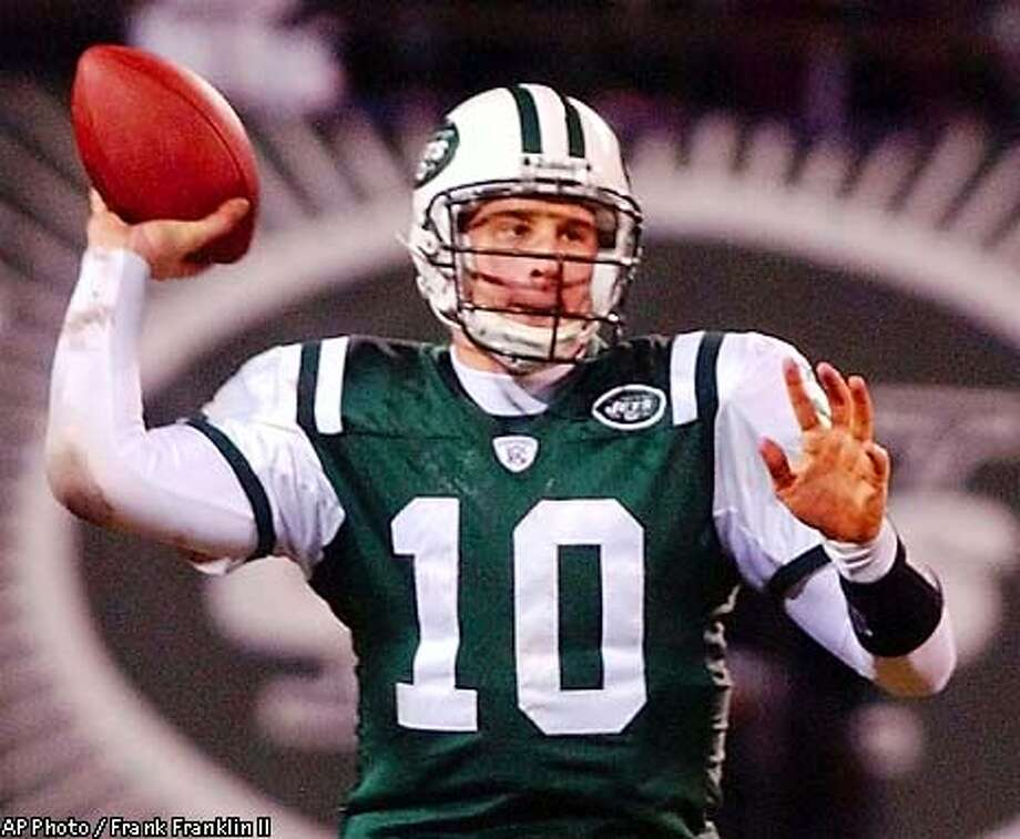 **ALTERNATE CROP**New York Jets quarterback Chad Pennington throws a pass during the third quarter against the Indianapolis Colts in the AFC wild card game at Giants Stadium Saturday, Jan. 4, 2003, in East Rutherford, N.J. The Jets beat the Colts, 41-0. (AP Photo/Frank Franklin II) Photo: FRANK FRANKLIN II