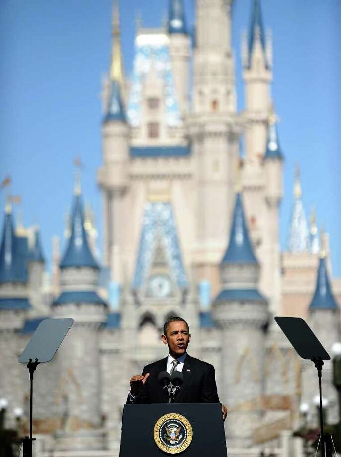 President Barack Obama chose Disney World in Lake Buena Vista, Fla., to unveil a strategy Thursday that will significantly help boost tourism and travel. Photo: JEWEL SAMAD / AFP