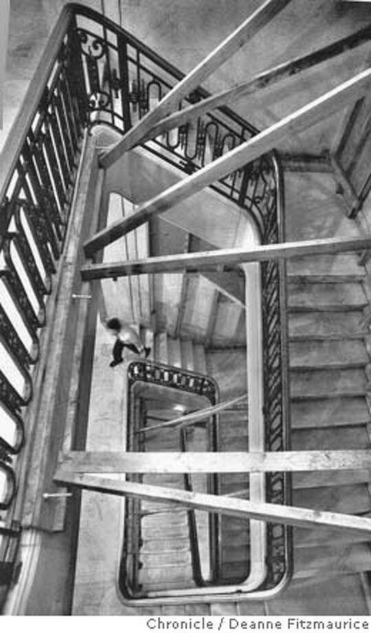 SAN FRANCISCO CITY HALL. SCAFFOLDING WAS INSTALLED IN SAN FRANCISCO CITY HALL STAIRWAYS AFTER THE 1989 LOMA PRIETA EARTHQUAKE. Photo: DEANNE FITZMAURICE