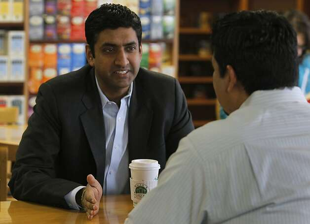 Ro Khanna discusses labor issues with former UAW past president Sergio Santos at Suju's Coffee shop in Fremont, Calif. on Thursday, Jan. 19, 2012. Khanna is considering a run for the Congressional seat currently held by Pete Stark but needs to wait until the 21-term incumbent decides to step aside. Photo: Paul Chinn, The Chronicle