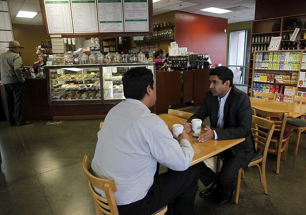 Ro Khanna meets with former UAW past president Sergio Santos to discuss labor issues at Suju's Coffee shop in Fremont, Calif. on Thursday, Jan. 19, 2012. Khanna is ready to run for the Congressional seat currently held by Pete Stark but needs to wait until the 21-term incumbent decides to step aside. Photo: Paul Chinn, The Chronicle