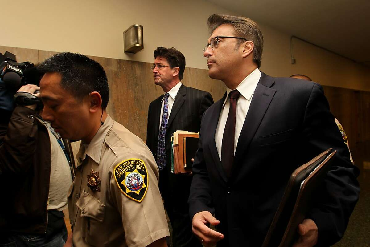 San Francisco Sheriff Ross Mirkarimi walks through the halls of the Hall of Justice, Thursday January 20, 2012, for his arraignment in San Francisco, Calif. Ross entered three not- guilty pleas to charges of domestic violence battery, child endangerment and dissuading a witness in connection with a New Year's Eve incident with his wife Eliana Lopez.