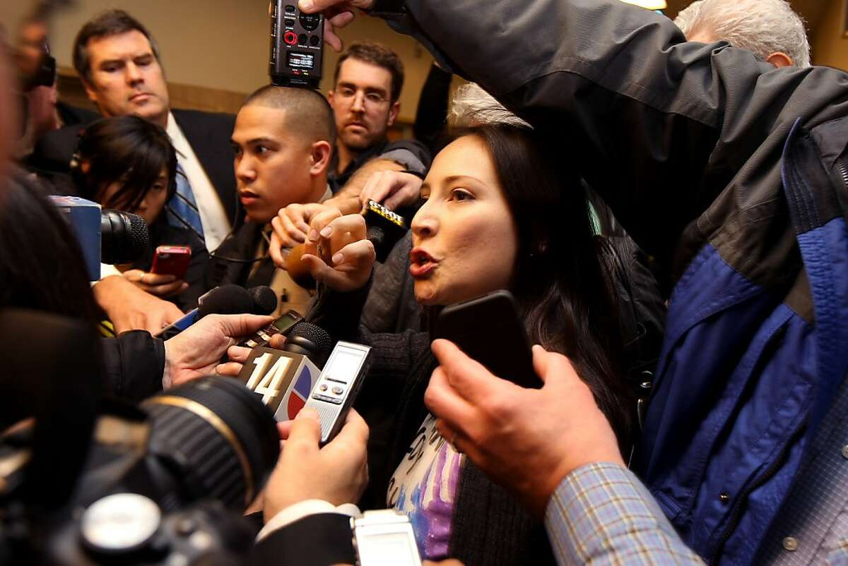 Eliana Lopez talks to the media outside the courtroom, Thursday January 19, 2012, after her husband Sheriff Ross Mirkarimi arraignment in San Francisco, Calif. Ross entered three not- guilty pleas to charges of domestic violence battery, child endangerment and dissuading a witness in connection with a New Year's Eve incident with his wife Eliana Lopez.