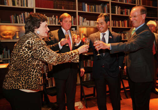 Former Mayor Lila Cockrell (from left) toasts with The Tobin Endowment Chairman and Trustee J. Bruce Buggs, Jr., Mayor Julian Castro, and Bexar County Judge Nelson Wolff during her 90th birthday reception held Thursday Jan. 19, 2012 at the Tobin Estate. Photo: EDWARD A. ORNELAS, SAN ANTONIO EXPRESS-NEWS / SAN ANTONIO EXPRESS-NEWS (NFS)