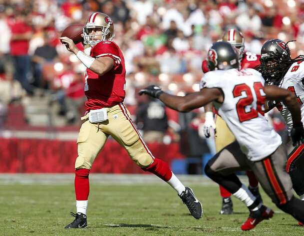 San Francisco 49ers quarterback Alex Smith throws the ball for a first down against the Tampa Bay Buccaneers,  Sunday Oct. 9, 2011, at Candlestick Park in San Francisco, Calif. The 49ers defeated the Buccaneers 48 to 3. Photo: Lacy Atkins, The Chronicle