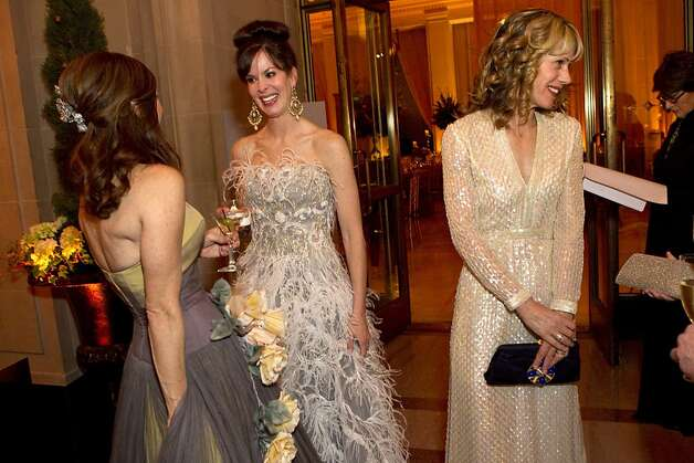 Suzy Kellems Dominik, Stephanie Ejabat and Melissa Barber (left to right) chat during the cocktail hour while attending the San Francisco Ballet Opening Night Gala at City Hall in San Francisco, Calif., on Thursday, January 19, 2012. Photo: Laura Morton, Special To The Chronicle