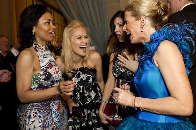 Tanya Powell, Marie Ralph, Aimee West and Marie Hurabiell (left to right) chat during the cocktail hour while attending the San Francisco Ballet Opening Night Gala at City Hall in San Francisco, Calif., on Thursday, January 19, 2012. Photo: Laura Morton, Special To The Chronicle