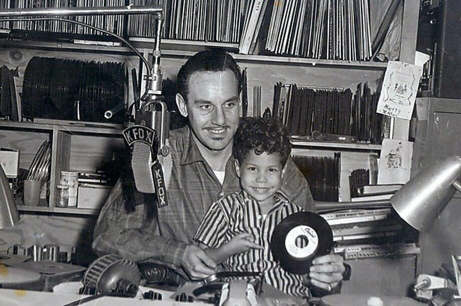 "Johnny Otis on the air in 1957 with son Shuggie.   From the book ""Midnight at the Barrelhouse: The Johnny Otis Story."" Photo: University Of Minnesota Press"