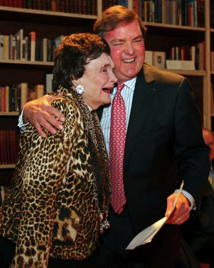 Former Mayor Lila Cockrell (left) hugs J. Bruce Buggs, Jr., Chairman and Trustee The Tobin Endowment, during her 90th birthday reception held on Jan. 19, 2012 at the Tobin Estate. Photo: EDWARD A. ORNELAS, Edward A. Ornelas/Express-News / SAN ANTONIO EXPRESS-NEWS (NFS)
