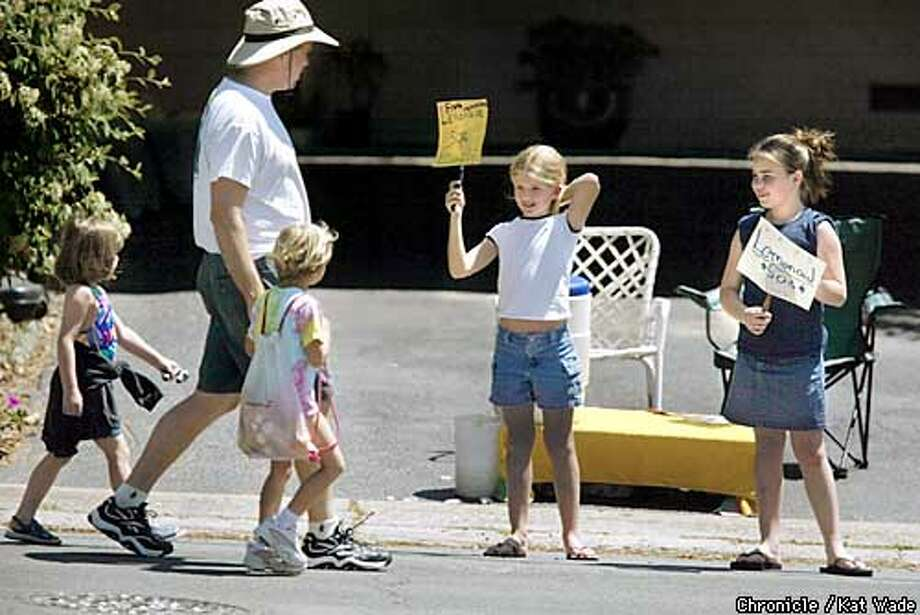 Stand alone weather art. Natalie Schneider, 10, left, and Eden Sussenguth (CQ) , 10, right, capitalize on the warm weather of the first week of summer selling lemonade at 50 cents a glass to passers-by on Stanley Road in Lafayette on 5/31/03 in Lafayette. KAT WADE / The Chronicle Photo: KAT WADE