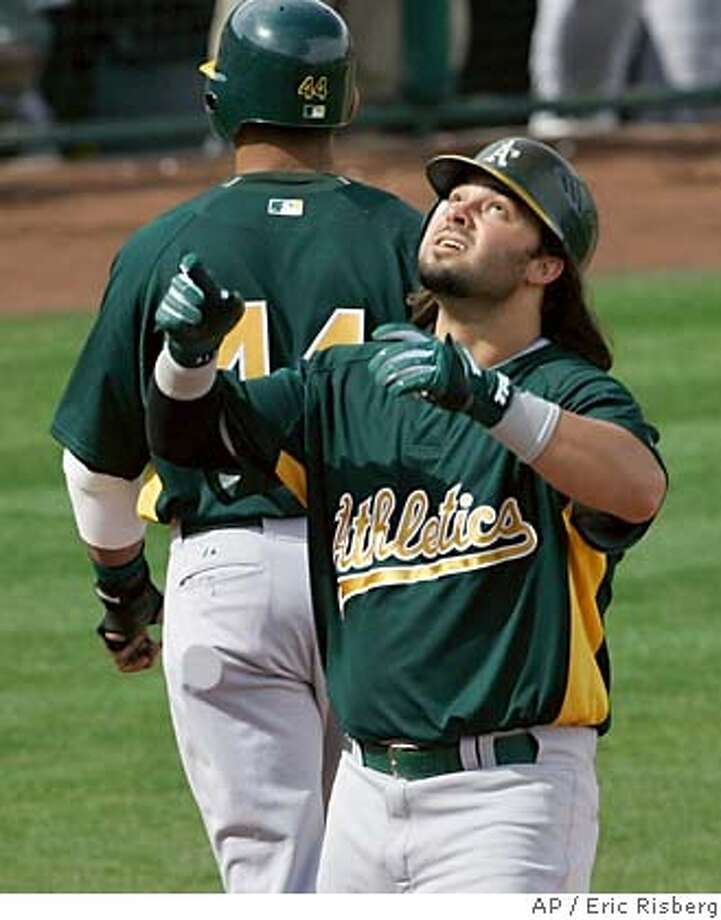 Oakland Athletics' Nick Swisher looks upward while crossing home plate after hitting a three-run home run off Los Angeles Angels pitcher Greg Jones in the sixth inning of their spring training baseball game in Tempe, Ariz., Monday, March 5, 2007. (AP Photo/Eric Risberg) Photo: Eric Risberg