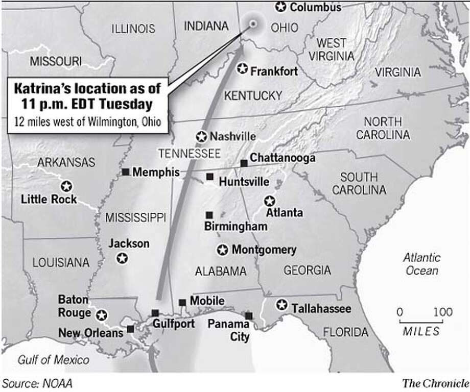 Katrina's Location. Chronicle Graphic