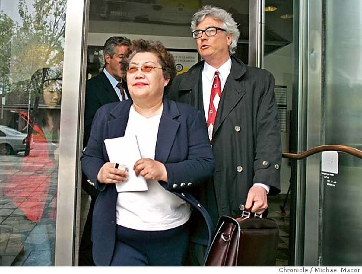 lee_011_mac.jpg Julie Lee leaves the San Francisco County Jail Building, after turning herself in and than posting bail. Joined by her attorney Steve Gruehl. Julie Lee State, top volunteer fund-raiser for former Secretary of State Kevin Shelley, was charged by state prosecutors with grand theft and other felonies on Thursday, accusing her of diverting $125,000 from a taxpayer-funded grant to Shelley's 2002 campaign fund. 4/8/05 Oakland, Ca Michael Macor / San Francisco Chronicle Ran on: 04-09-2005 Julie Lee leaves the San Francisco County Jail with her attorney Steven Gruel after turning herself in and posting bail. She is charged with grand theft and other felonies. Ran on: 04-09-2005 Julie Lee leaves the San Francisco County Jail with her attorney Steve Gruel after turning herself in and posting bail. She is charged with grand theft and other felonies. Mandatory Credit for Photographer and San Francisco Chronicle/ - Magazine Out