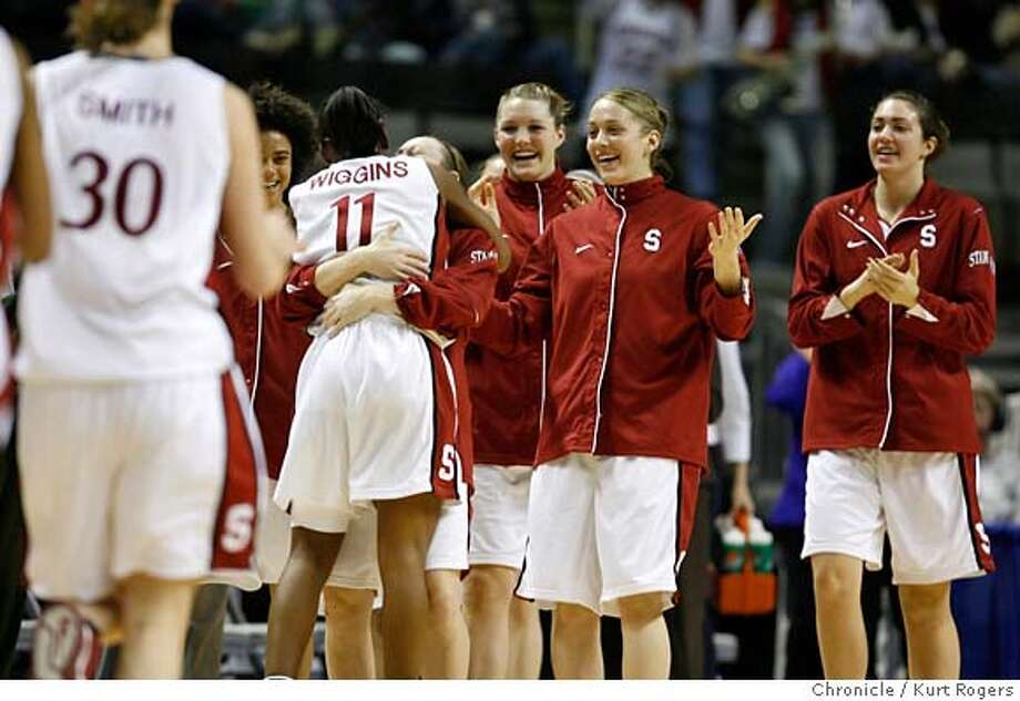 Candice Wiggins hugs Clare Bodensteiner after being taken out of the game. Stanford beats USC 67-52  2007 PAC-10 Women's Basketball Tournament at HP Pavilion Game 8 No.1 Stanford Vs No 5 USC  SUNDAY, MARCH 04, 2007 KURT ROGERS/THE CHRONICLE SAN JOSE THE CHRONICLE  SFC Photo: KURT ROGERS/THE CHRONICLE