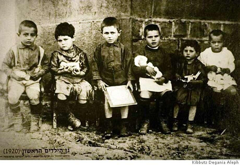 COLLECT: DEGANIA'S FIRST KINDERGARDEN, 1920 (MOSHE DAYAN IS ON THE LEFT)  HANDOUT PHOTO Courtesy / Kibbutz Degania Aleph NO MAGS, NO SALES, NO TV Photo: HANDOUT