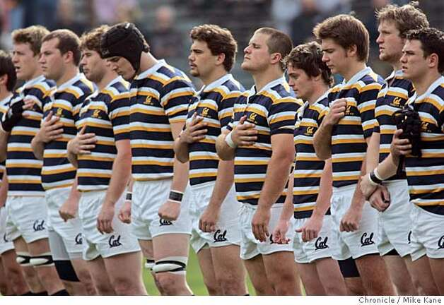 The Cal rugby squad stands for the national anthem before playing UC Davis at Berkeley, CA, on Saturday, January, 27, 2007. photo taken: 1/27/07  Mike Kane / The Chronicle ** Photo: MIKE KANE