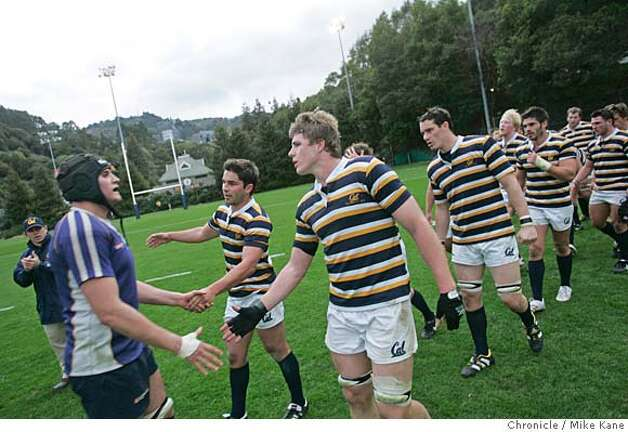 Cal rugby number 8 Louis Stanfill and teammates congratulate the University of British Columbia from Vancouver Canada after their match in Berkeley, CA, on Wednesday, February, 21, 2007. The Golden Bears came from behind to win 32-17. photo taken: 2/21/07  Mike Kane / The Chronicle CQ LOUIS STANFILL Photo: MIKE KANE