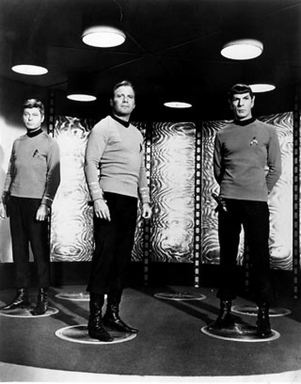"""The Star Trek crew prepares to get """"beamed."""" This is for a story on teleportation for the Monday Science page."""