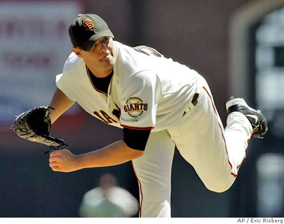 San Francisco Giants' starting pitcher Noah Lowry throws against the New York Mets during the first inning of their game in San Francisco, Sunday August 28, 2005. (AP Photo/Eric Risberg) Photo: ERIC RISBERG