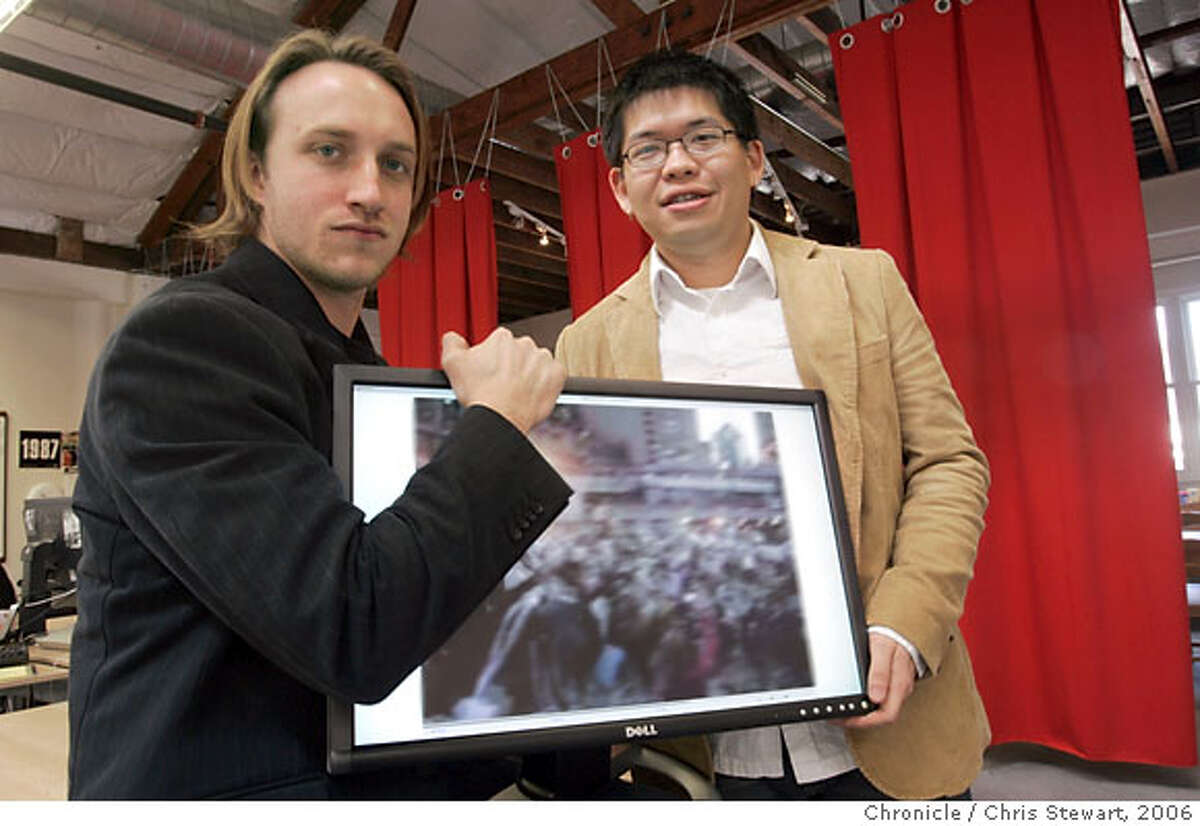 onlinevideoxx_014_cs.jpg Event on 3/7/06 in San Mateo. Chad Hurley (left), co-founder and CEO and Steve Chen, a co-founder and CTO of YouTube in San Mateo. Here, consumers post videos they've created themselves, as well as full episodes and clips of popular television shows. Chris Stewart / The Chronicle Ran on: 10-11-2006 Co-founders Steve Chen and Chad Hurley posted an appropriately no-frills video on their Web site Monday explaining why they sold their company to Google. Ran on: 03-04-2007 YouTube co-founders Chad Hurley (left) and Steve Chen ham it up at their office loft in San Mateo in 2006, just before the startup moved to San Bruno and then was bought by Google.