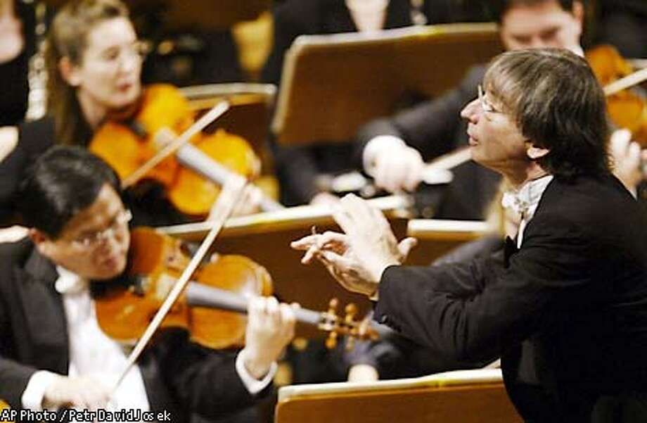 SYMPH28-c For SYMPH28; The San Francisco Symphony music director and conductor Michael Tilson Thomas conducts at the Dvorak Hall in Prague on Friday 23rd, May 2003. SFS will perform two concerts as a part of the Prague Spring 2003 music festival. Photo: Petr David Josek/AP; 5/27/03 in Prague. AP Photo / Petr David Josek/AP / AP Photo: Petr David Josek/AP